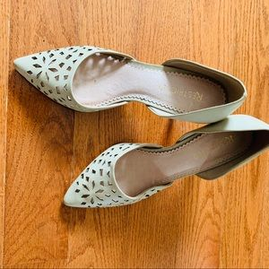 Restricted Grey Green Perforated Heels